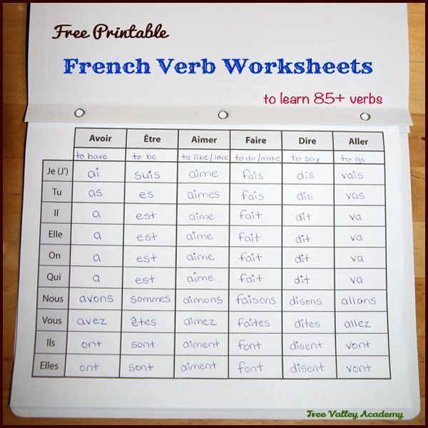 17 Pages Of Free Printable French Verb Worksheets To Learn The