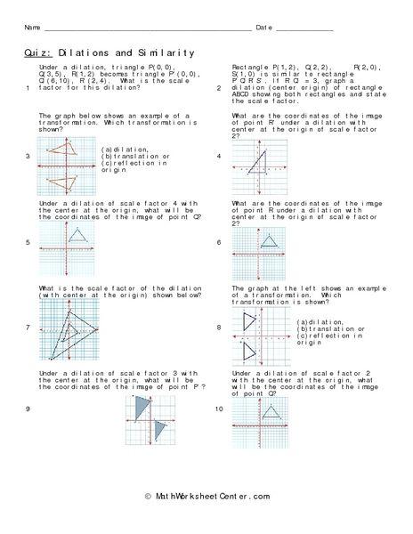 Dilations And Similarity Worksheet
