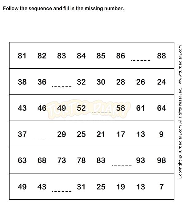 Number Sequence Worksheet 5