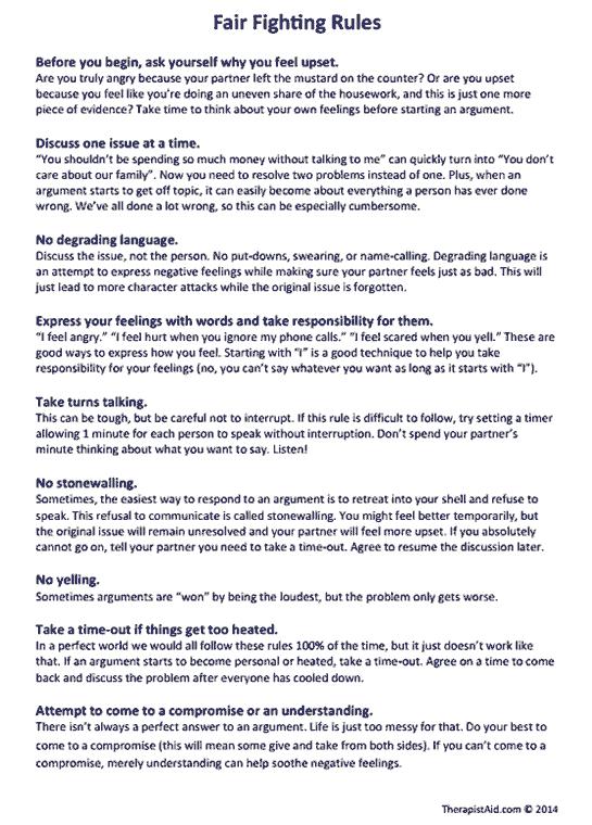 Fair Fighting Rules (worksheet