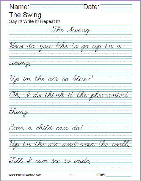 Printable Handwriting Worksheets ⭐ Manuscript And Cursive