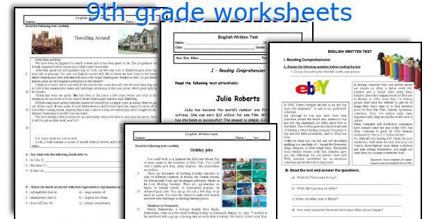 9th Grade Worksheets