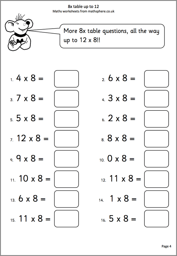 8x Tables To 12 Maths Worksheet