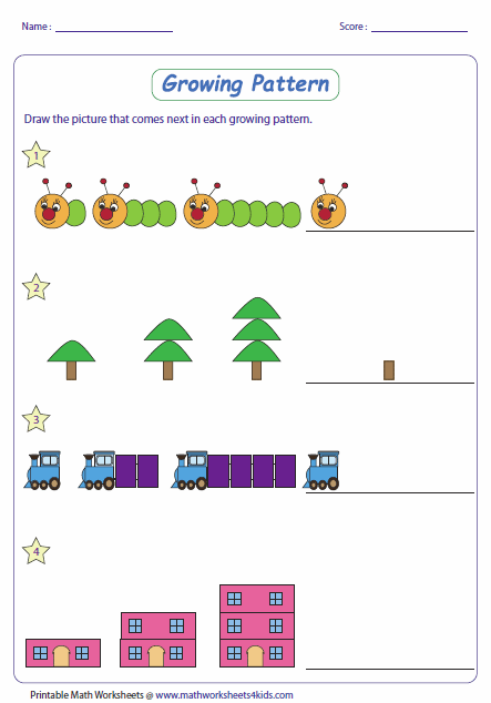 Math Pattern Worksheets With Different Levels For Ages K