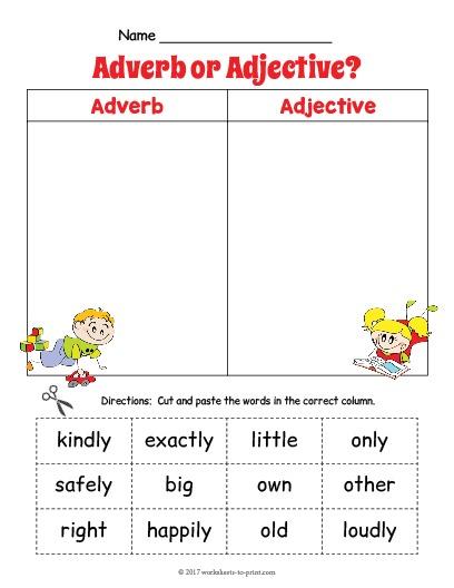Adjective Adverb Sort