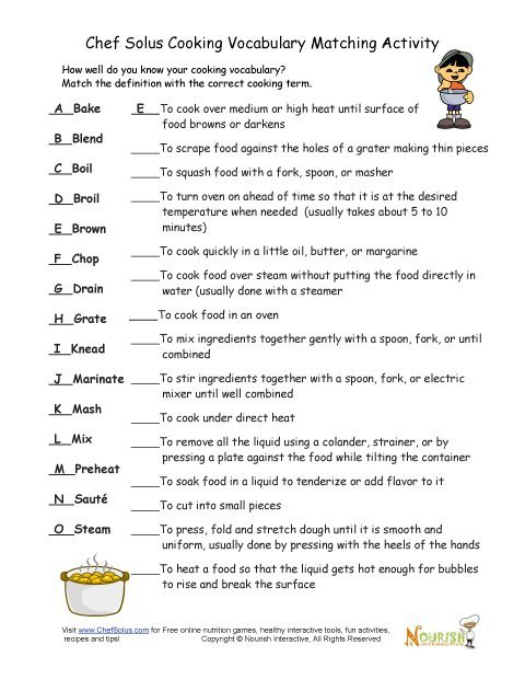 41 Basic Cooking Terms Worksheet