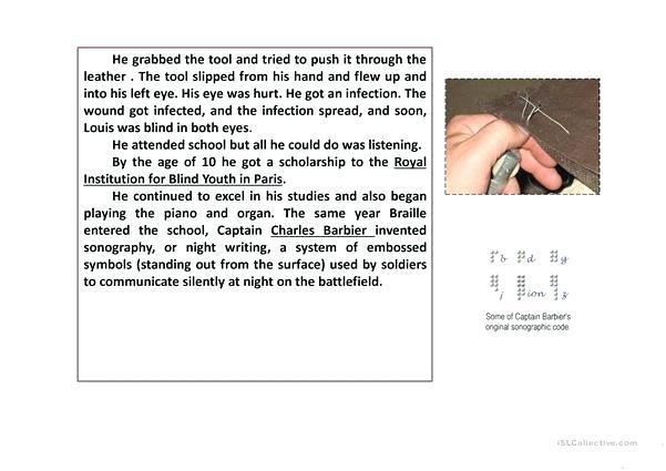 Braille Printable Worksheets Louis Comprehension Fun Activities