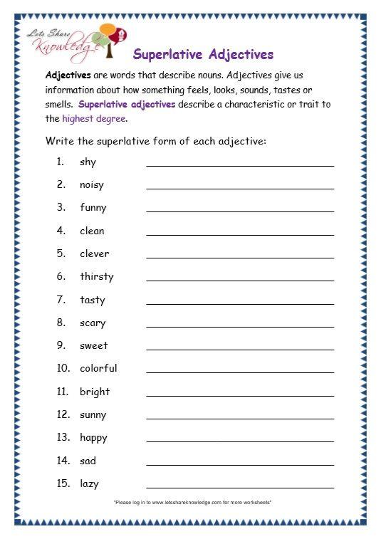 Page 7 Superlative Adjectives Worksheet