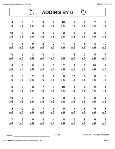 Adding By 6  Addition Math Worksheets With 6 Different Styles To