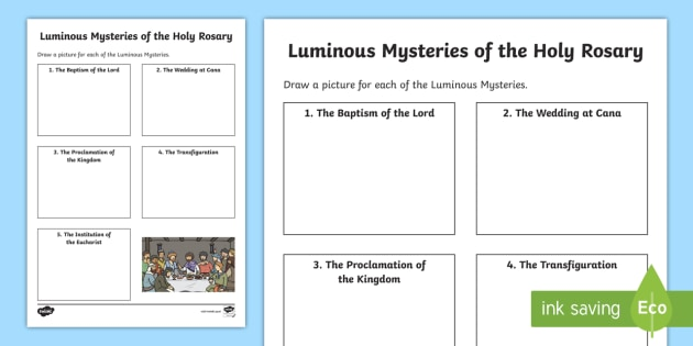 The Luminous Mysteries Of The Holy Rosary Worksheet   Activity Sheet