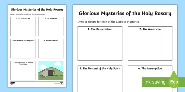 The Glorious Mysteries Of The Holy Rosary Worksheet   Activity
