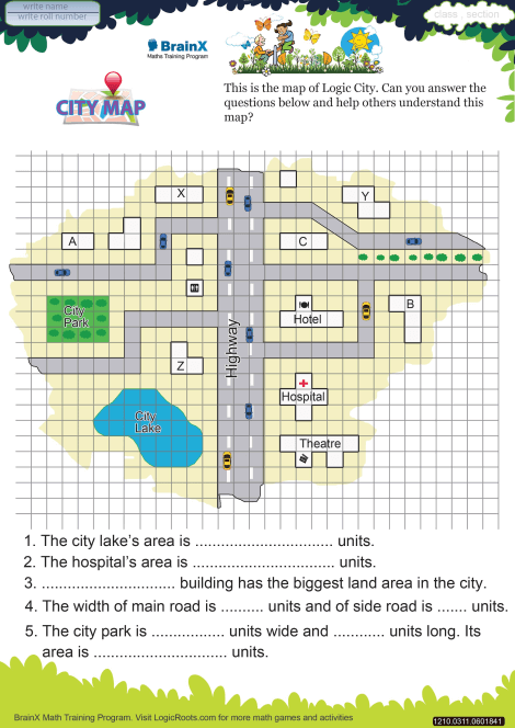 City Map Math Worksheet For Grade 3