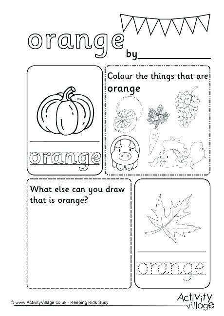 Colours Worksheet Orange Colour For Kindergarten Pentagon
