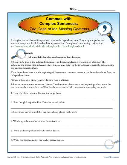 Commas With Complex Sentences