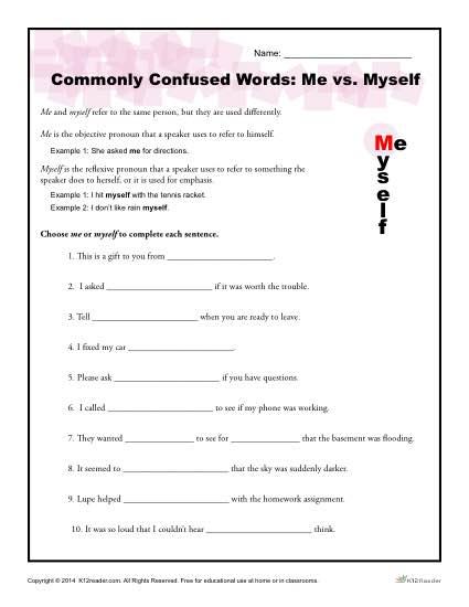 Me Vs  Myself Worksheet