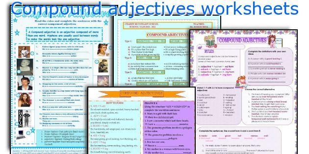 Compound Adjectives Worksheets