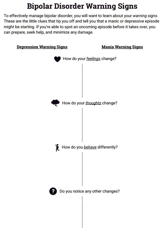 Bipolar Disorder Warning Signs (worksheet