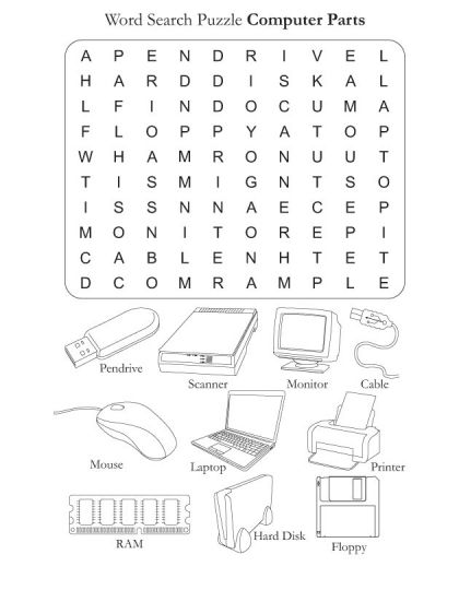 Word Search Puzzle Computer Parts
