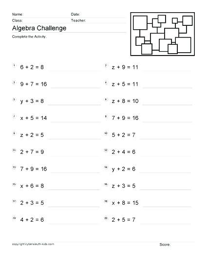 Free Grade Math Worksheets Printable Eighth Homework Algebra Sat