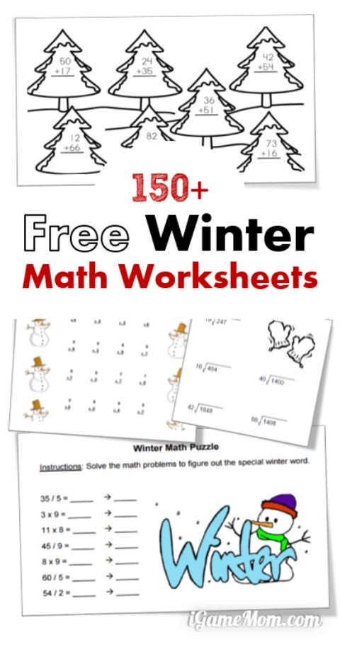 150 Free Winter Math Printable Worksheets
