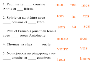 French Possessive Adjectives Worksheet Worksheets For All