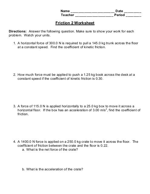 Friction 2 Worksheet