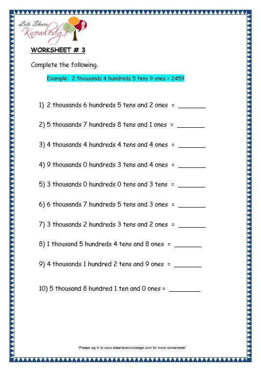 Grade 3 Maths Worksheets  4 Digit Numbers (1 1 Ones, Tens