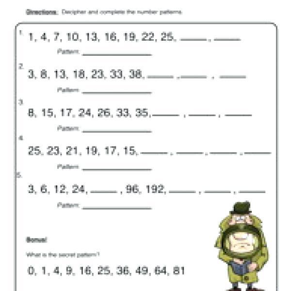 Free Math Pattern Worksheets For Pattern Worksheets 2nd Grade