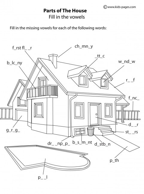 House Parts B & W Worksheet