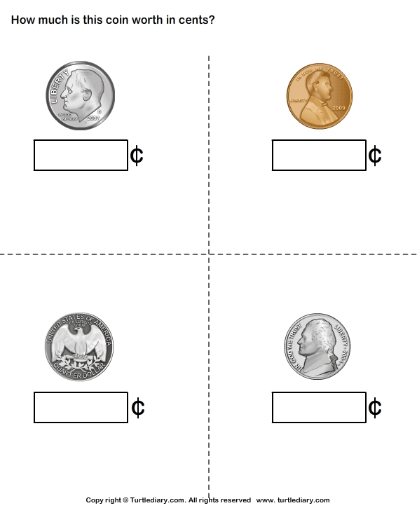 Identify Name And Worth Of Coins Worksheet