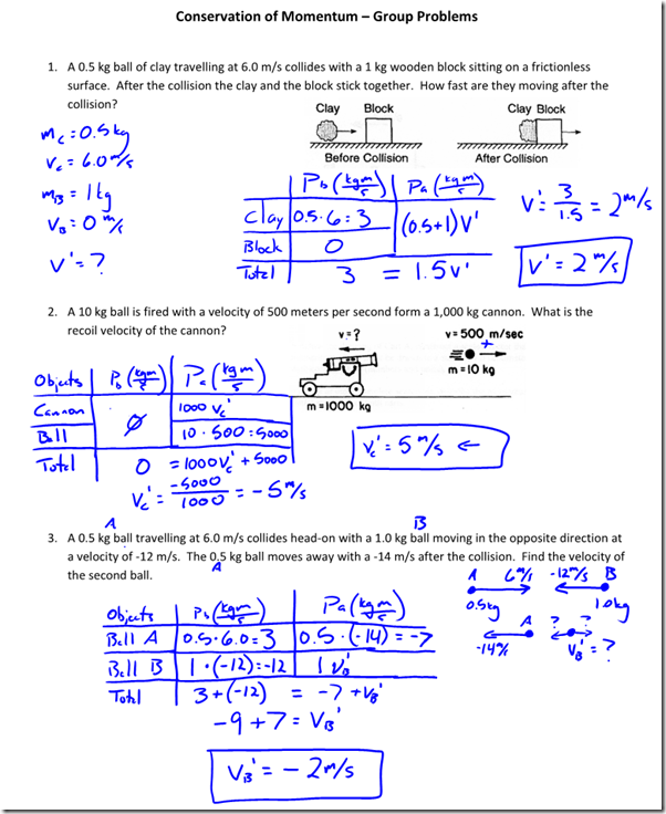 Conservation Of Momentum Practice