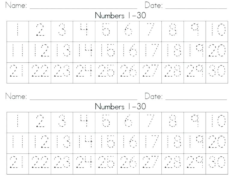 Kindergarten Number Tracing Worksheets 1 Related Small Size