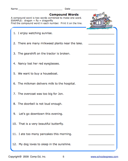 School Express Compound Word Worksheet