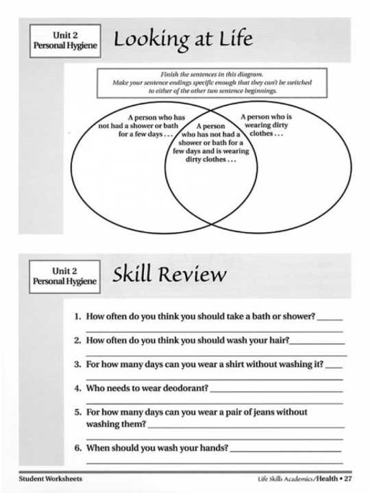 Life Skills Worksheets For Middle School Students Life Skills