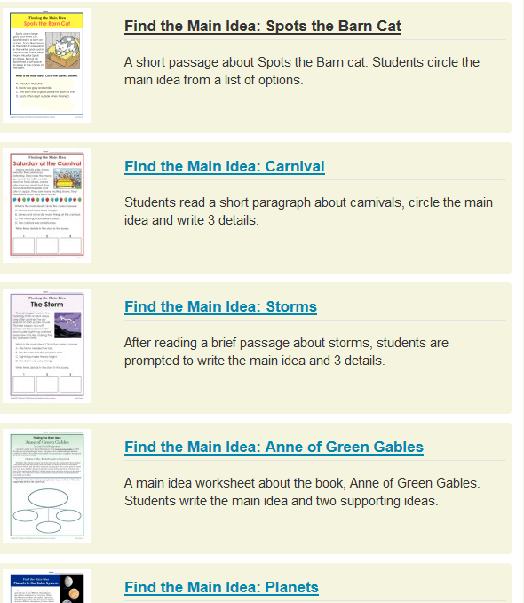 Main Idea (key Ideas And Details) Worksheets  Grades 1