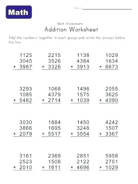 Math 4 Digit Addition Worksheets Math 4 Digit Addition Worksheets