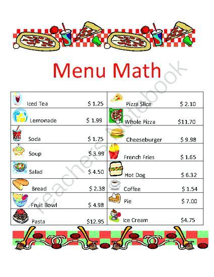 Menu Math Printable Worksheets Facile Furthermore I 1 Impression