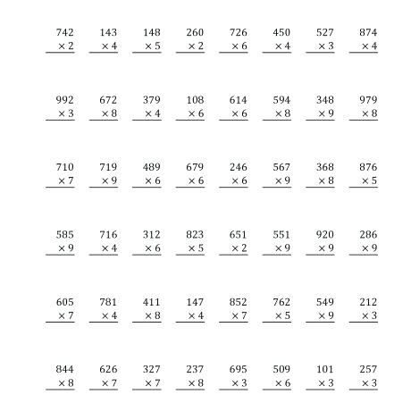 Three Digit Multiplication Worksheets Pdf – Spechp Info
