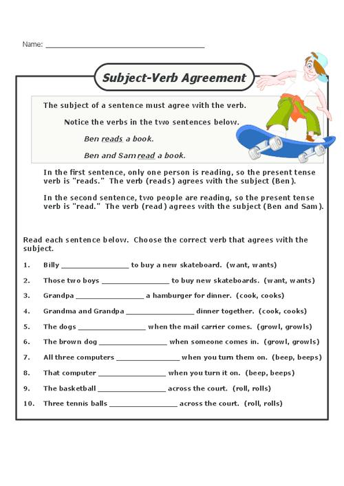 Noun Verb Agreement Worksheets Grade 2 Noun Verb Agreement