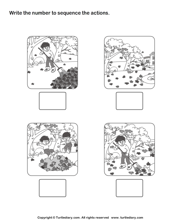 Picture Sequencing Garden Cleaning Worksheet