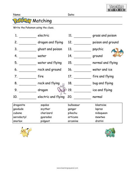 Free Pokémon Worksheets