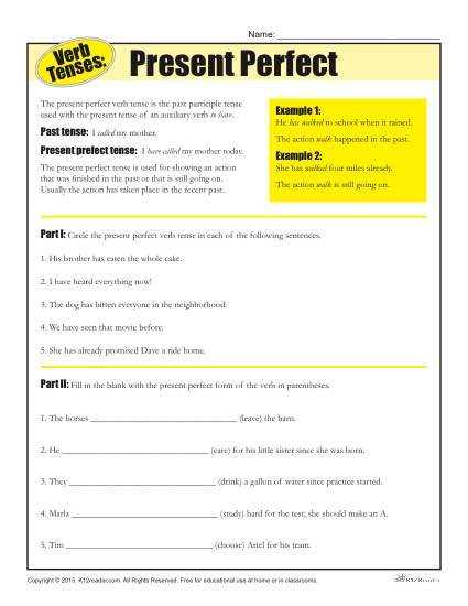Present And Past Participles Worksheet Worksheets For All