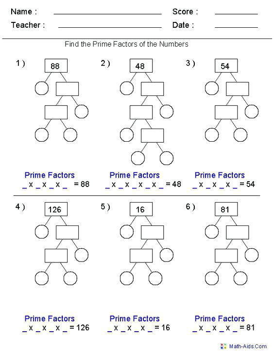 Prime Factorization Worksheets For 5th Grade Eighth Grade Prime
