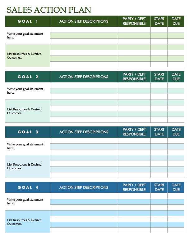 Sales Goals Spreadsheet