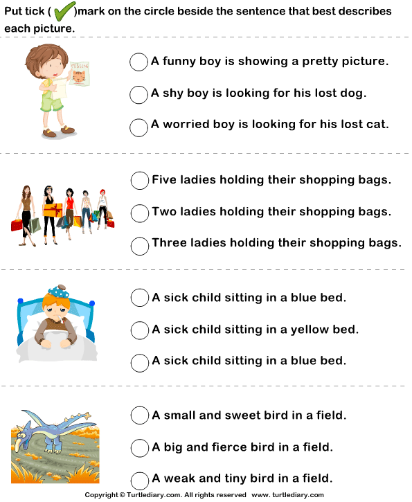 Sentences To Describe Pictures Worksheet