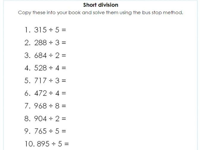 Year 5   6 Short Division Using The Bus Stop Method
