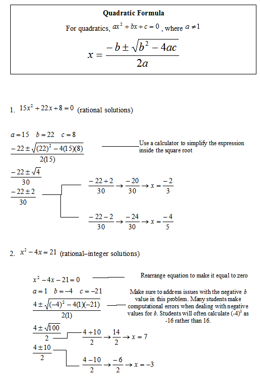Quadratic Equation Worksheet With Answers  Equations
