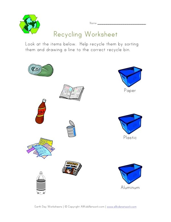 Recycling Printable Worksheets