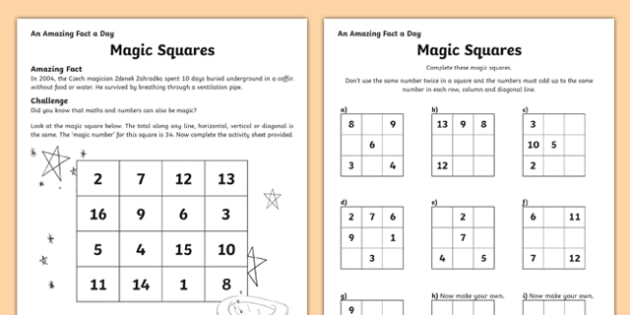 Magic Squares Worksheet   Activity Sheet, Worksheet