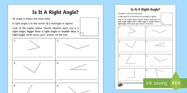 Right Angles Worksheet   Activity Sheet